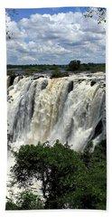 Victoria Falls On The Zambezi River Beach Sheet