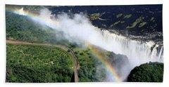 Rainbow Over Victoria Falls  Beach Towel