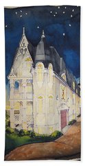 The Victorian Apartment Building By Rjfxx. Original Watercolor Painting. Beach Towel by RjFxx at beautifullart com