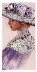 Victorian Lady In Lavender Lace Beach Towel