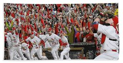 Victory - St Louis Cardinals Win The World Series Title - Friday Oct 28th 2011 Beach Sheet by Dan Haraga
