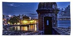 Viejo San Juan En La Noche Beach Towel by Daniel Sheldon
