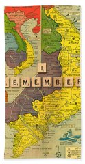 Vietnam War Map Beach Towel