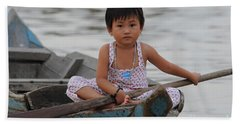 Vietnamese Girl On Lake Tonle Sap Beach Towel