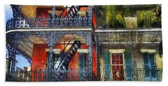 Beach Towel featuring the photograph Vieux Carre' Balconies by Tammy Wetzel