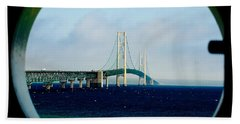 View From The Mackinac Light Beach Towel