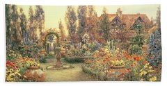 View Of A Country House And Garden Beach Towel