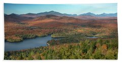 View Of A Lake From Goodnow Mountain Beach Towel