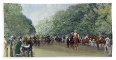View Of Hyde Park With Figures On Rotten Row  Beach Towel by Albert Jnr Ludovici