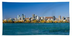 View Of Montreal Skyline And The Saint Beach Towel