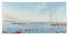 View Of New York Harbor From Brooklyn Heights Beach Towel