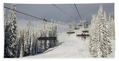 View Up Chairlift On Fresh Snow Beach Towel