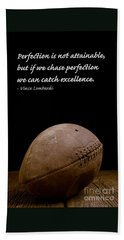 Vince Lombardi On Perfection Beach Towel by Edward Fielding