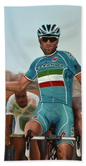 Vincenzo Nibali Painting Beach Towel by Paul Meijering