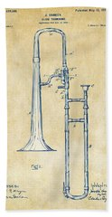 Vintage 1902 Slide Trombone Patent Artwork Beach Sheet by Nikki Marie Smith