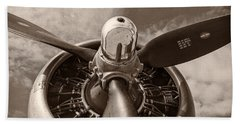 Vintage B-17 Beach Towel by Adam Romanowicz