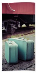 Vintage Blue Suitcases With Red Caboose Beach Towel