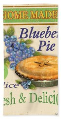 Vintage Blueberry Pie Sign Beach Sheet