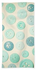 Vintage Blues Button Love Beach Towel by Sharon Johnstone