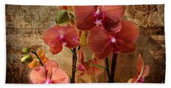 Vintage Burnt Orange Orchids Beach Towel