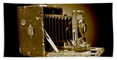 Vintage Camera Sepia Wall Art Beach Towel