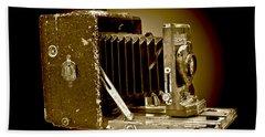 Vintage Camera In Sepia Tones Beach Sheet by Carol F Austin