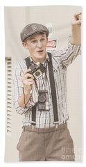 Vintage Camera Man With A Point Of View Beach Towel