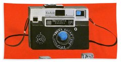 Vintage Camera With Flash Cube Beach Sheet