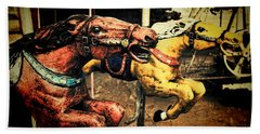Vintage Carousel Horses 002 Beach Towel by Tony Grider