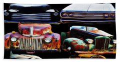 Vintage Cars Collage 2 Beach Towel by Cathy Anderson