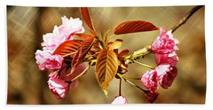 Beach Towel featuring the photograph Vintage Cherry Blossoms by Judy Palkimas