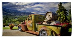 Vintage Chevy Truck At Oliver Twist Winery Beach Sheet