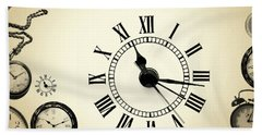 Vintage Clocks Beach Towel