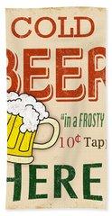 Vintage Cold Beer Sign Beach Towel