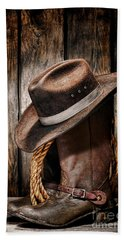 Vintage Cowboy Boots Beach Sheet