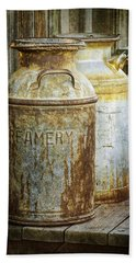 Vintage Creamery Cans In 1880 Town In South Dakota Beach Sheet by Randall Nyhof