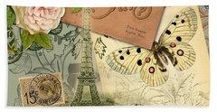 Vintage Eiffel Tower Paris France Collage Beach Towel