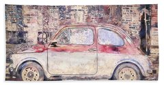 Vintage Fiat 500 Beach Towel