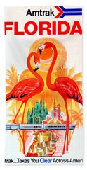 Vintage Florida Amtrak Travel Poster Beach Towel