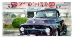 Vintage Ford Pickup At The Diner Beach Towel