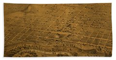 Vintage Fort Worth Texas In 1876 City Map On Worn Canvas Beach Towel