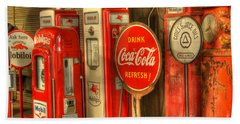 Vintage Gasoline Pumps With Coca Cola Sign Beach Sheet