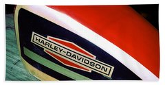 Vintage Harley Davidson Gas Tank Beach Towel by Beverly Stapleton