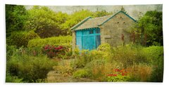 Vintage Inspired Garden Shed With Blue Door Beach Sheet