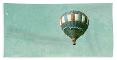 Beach Towel featuring the photograph Vintage Inspired Hot Air Balloon In Red White And Blue by Brooke T Ryan