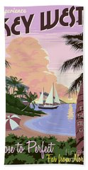 Vintage Key West Travel Poster Beach Towel