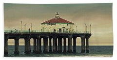 Vintage Manhattan Beach Pier Beach Towel by Kim Hojnacki