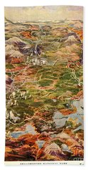 Vintage Map Of Yellowstone National Park Beach Towel by Edward Fielding