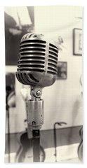 Vintage Microphone Sun Studio Beach Towel