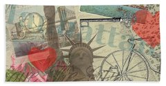 Vintage New York City Collage Beach Sheet